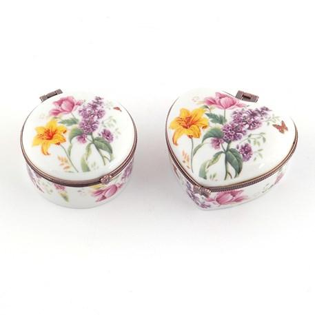 Set van 2 Porseleinen Doosjes Vlinderbloemen