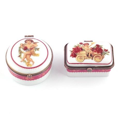 Set van 2 Porseleinen Doosjes Engeltjes Roze