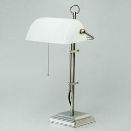 Banker Lamp Modern Mat Nikkel | Opaal Wit