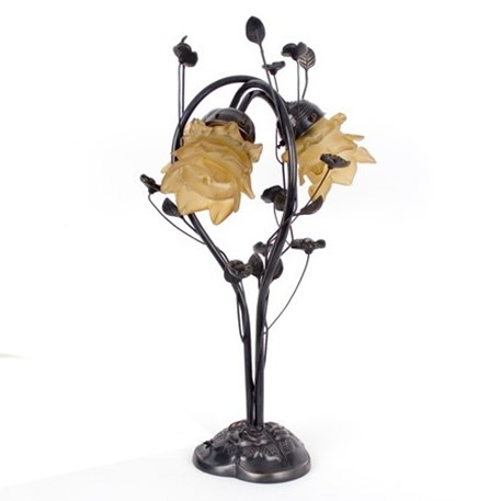 Tafellamp Flower met donker brons, gedetailleerd armatuur en lichtbruine, bloemvormige glaskappen