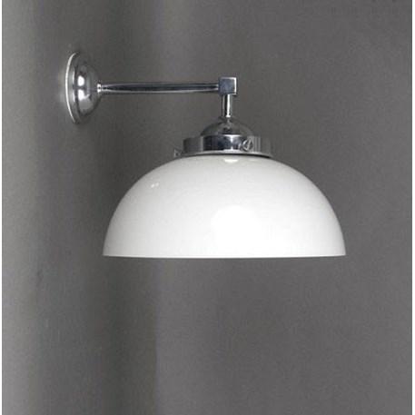 Verchroomde buiten- badkamerwandlamp met een recht armatuur en een halve bol Ø 30cm