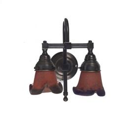 Wandlamp Kort Rokje Pâte-de-verre Gebogen 2-lichts