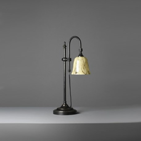 Tafellamp met Donker brons armatuur en gemarmerde glaskap