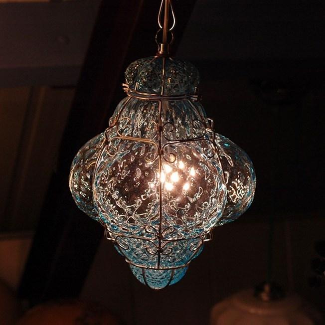 Sfeerimpressie Venetiaanse Hanglamp Kleine Bellezza Aquamarijn