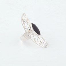 Ring Floral Onyx