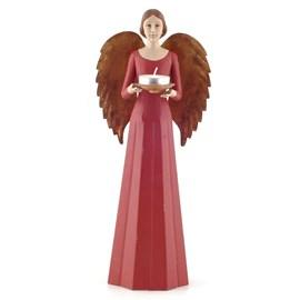 Sculptuur/Kandelaar Engel in het rood