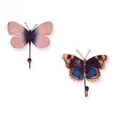 Twee Kapstokhaken Vlinders Siona